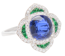 Foreign Intrigue - Sapphire Emerald Diamond Ring