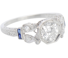 Come Alive - Art Deco Diamond Sapphire Ring