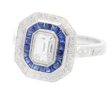 Emerald Cut Diamond Sapphire Ring