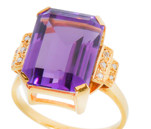 Imposing Amethyst Diamond Dinner Ring