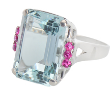 Hollywood Style - Aquamarine Ruby Retro Ring