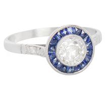 Celestial Diamond Sapphire Halo Ring