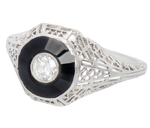 Art Deco Contrasts - Diamond Onyx Ring