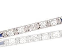 Art Deco Sapphire Diamond Line Bracelet