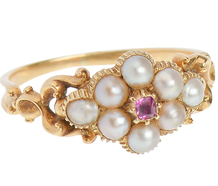 19th C. Ruby Pearl Cluster Ring