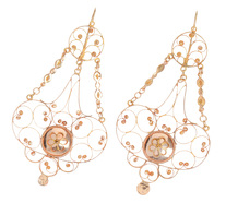 Grand Georgian Rose Gold Pendant Earrings