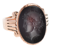 Neoclassical Intaglio Garnet Ring