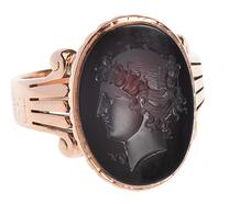 Neoclassical Intaglio Garnet Ring