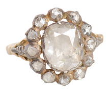 Victorian Finesse - Antique Diamond Halo Ring
