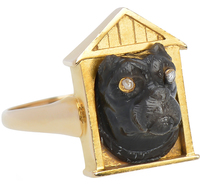Victorian Dog Cameo in Doghouse Ring