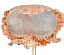 Carved Moonstone Twin Baby Faces Stickpin