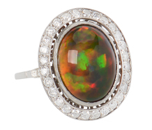 Black Opal Diamond Halo Ring