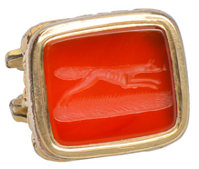 Carnelian Running Dog or Fox Fob Pendant