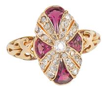 Late 19th C. Diamond Garnet Ring