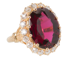 Spectacular Garnet Diamond Cluster Ring