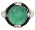 Art Deco Mogul Style - Emerald Diamond Ring