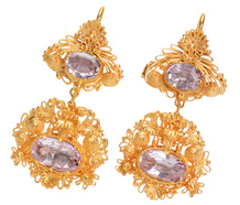 Georgian Treasure - Cannetille Pink Topaz Earrings