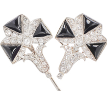 Art Deco Diamond Onyx Jabot Pin
