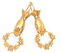 Gloved Hands & Floral Wreath Earrings