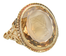 Carved Wonder - Intaglio Citrine Ring