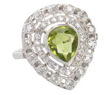 Heartfelt -  Vintage Diamond Peridot Ring