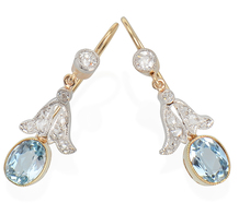 Angel Wings - Aquamarine Drop Earrings