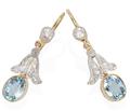 Angel Wings - Aquamarine Drop Earrings