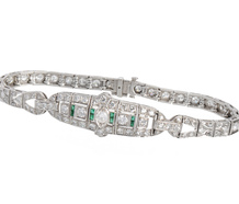 Diamond Emerald Platinum Bracelet