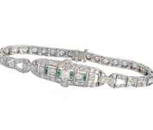 Diamond Emerald Platinum Bracelet