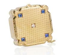 Sapphire Diamond Pill Box Pendant