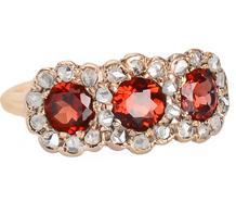 Three's a Charm - Garnet Diamond Ring