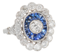 Attention Getter - Diamond Sapphire Halo Ring
