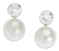 Snow & Ice - Diamond Pearl Earrings