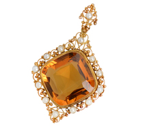 Comes the Sun - Citrine Pearl Pendant