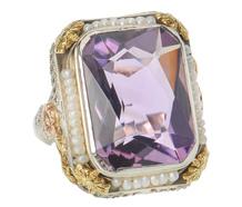 Vintage Flowers - Amethyst Pearl Ring