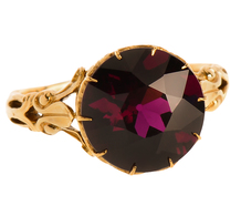 Plum Hued Almandine Garnet Ring