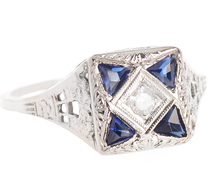 Sapphire & Diamond Filigree Ring
