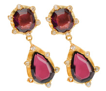 Artful Vintage Garnet Gold Earrings