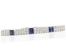 Art Deco Phenom - Diamond Sapphire Line Bracelet
