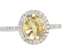 Yellow Sapphire Diamond Halo Ring