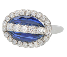 Jabel Sapphire Diamond Art Deco Ring