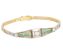 Art Deco Delight - Emerald Diamond Bracelet