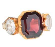 Victorian Symmetry - Garnet Rock Crystal Ring
