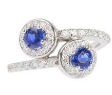 Sapphire Diamond Crossover Ring