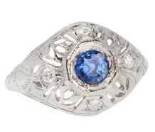 Filigree Sapphire Diamond Ring
