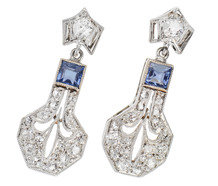 Art Deco Dance - Diamond Sapphire Earrings