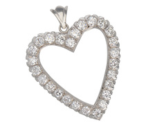 Heartfelt Diamond Pendant Brooch 2.6 C