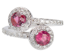 Pink & White - Diamond Sapphire Crossover Ring