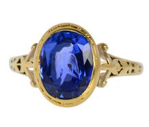 Art Nouveau Bird on a Ceylon Sapphire Ring