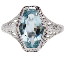 Sea Mist in an Art Deco Aquamarine Ring